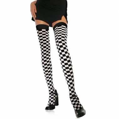 Carnavalskleding wit zwarte geblokte kniekousen dames arnhem