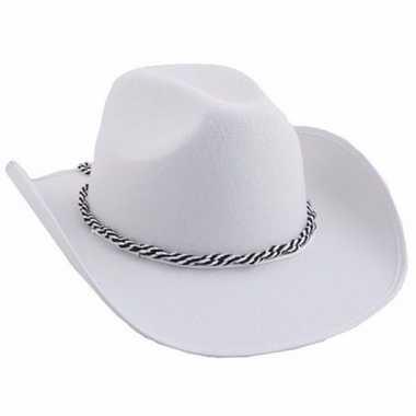 Carnavalskleding witte cowboyhoeden koord arnhem