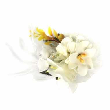 Carnavalskleding witte haarbloemen klem arnhem