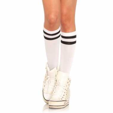Carnavalskleding witte hoge damessokken zwarte streep arnhem