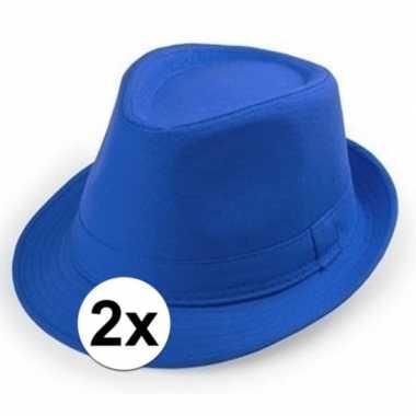 Carnavalskleding x blauw trilby verkleed hoedjes volwassenen arnhem