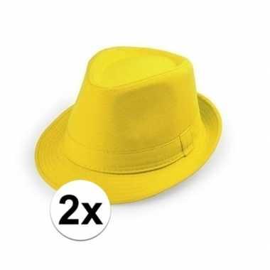 Carnavalskleding x geel trilby verkleed hoedjes volwassenen arnhem