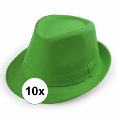 Carnavalskleding x groen trilby verkleed hoedjes volwassenen arnhem