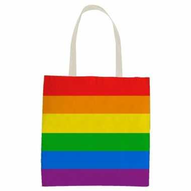 Carnavalskleding x katoenen/canvas boodschappentasje/shopper regenboog/rainbow/pride vlag volwassenen kids arnhem