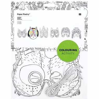 Carnavalskleding x knutsel papieren maskers om te kleuren kinderen ar