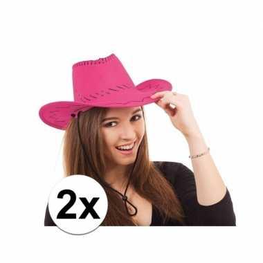 Carnavalskleding x roze toppers cowboy hoed stiksels arnhem