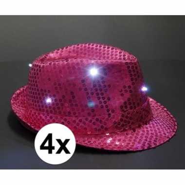 Carnavalskleding x roze toppers pailletten hoedje led licht arnhem