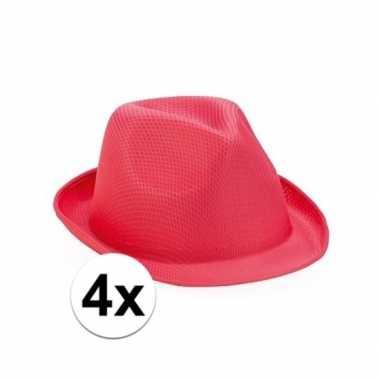 Carnavalskleding x roze toppers trilby hoedjes volwassenen arnhem