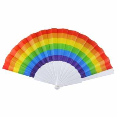 Carnavalskleding x spaanse hand waaiers regenboog/rainbow/pride vlag arnhem
