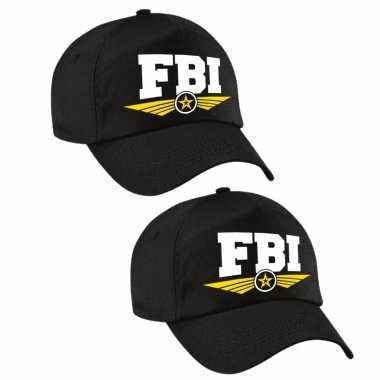 Carnavalskleding x stuks fbi agent tekst pet / baseball cap zwart volwassenen arnhem