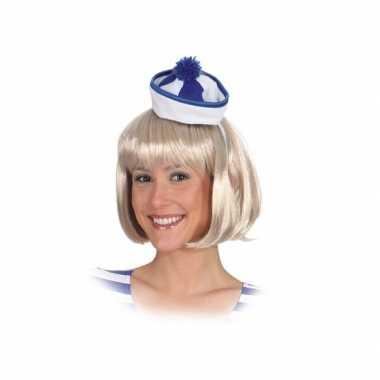 Carnavalskleding x stuks mini matrozen/zeeman hoedje blauw/wit haarband arnhem
