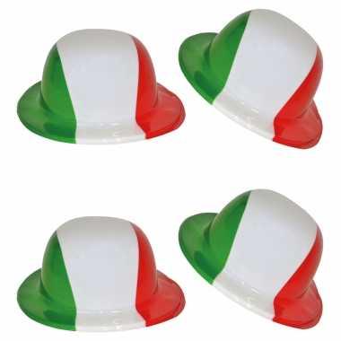 Carnavalskleding x stuks plastic bolhoed italiaanse vlag kleuren arnhem