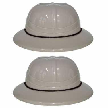Carnavalskleding x stuks plastic safari thema verkleed helm volwassenen arnhem