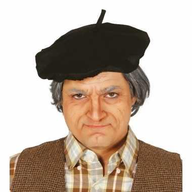 Carnavalskleding x stuks verkleed zwarte franse baret volwassenen arnhem