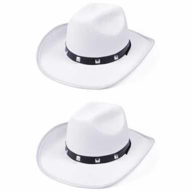Carnavalskleding x stuks witte cowboy verkleed hoed studs arnhem
