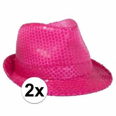 Carnavalskleding x toppers neon roze trilby hoed pailletten arnhem