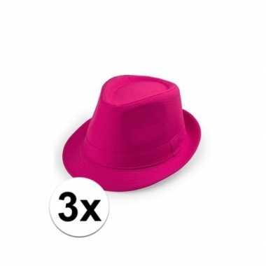 Carnavalskleding x toppers roze trilby hoedjes arnhem 10109529