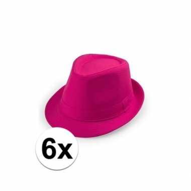Carnavalskleding x toppers roze trilby hoedjes arnhem 10109531