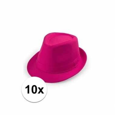 Carnavalskleding x toppers roze trilby hoedjes arnhem 10109533
