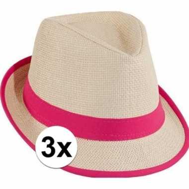 Carnavalskleding x toppers trilby stro hoedje roze arnhem