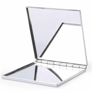 Carnavalskleding zakspiegel/make up spiegel zilver vierkant arnhem