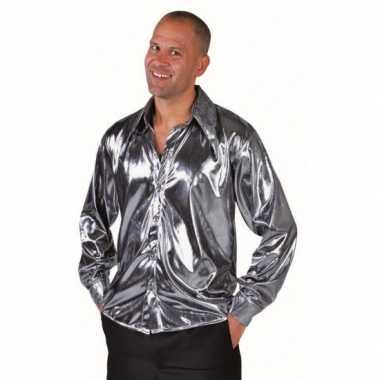 Carnavalskleding zilver metallic overhemd heren arnhem