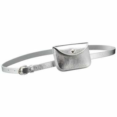 Carnavalskleding zilver mini heuptasje/buideltasje aan riem dames arn