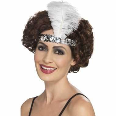 Carnavalskleding zilveren charleston hoofdband veer arnhem