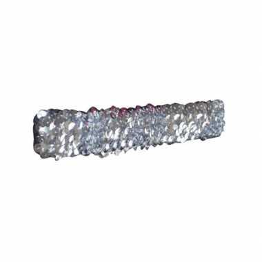 Carnavalskleding zilveren glitter pailletten disco haarband arnhem