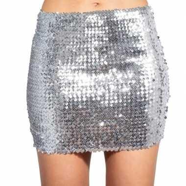 Carnavalskleding zilveren glitter pailletten disco rokje dames arnhem