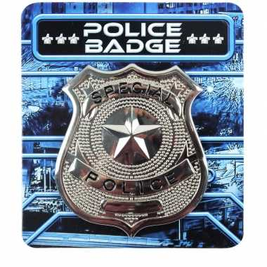 Carnavalskleding zilveren politie badge verkleed accessoire arnhem
