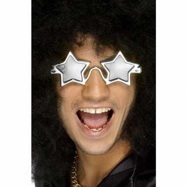 Carnavalskleding zilveren sterren disco bril volwassenen arnhem