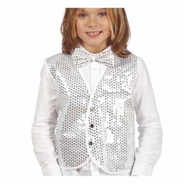 Carnavalskleding zilveren verkleed gilet pailletten kinderen arnhem