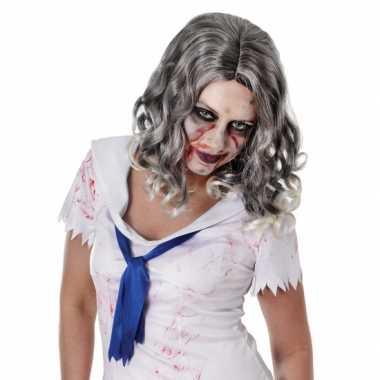 Carnavalskleding zombie pruik krullend grijs haar arnhem