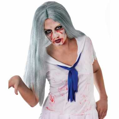 Carnavalskleding zombie pruik lang grijs haar arnhem