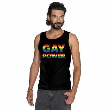 Carnavalskleding zwart gay power pride tanktop heren arnhem