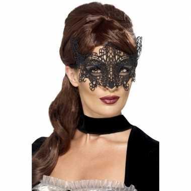 Carnavalskleding zwart geborduurd kanten oogmasker dames arnhem