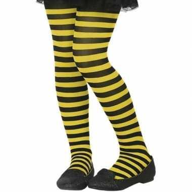 Carnavalskleding zwart/gele verkleed panty kinderen arnhem