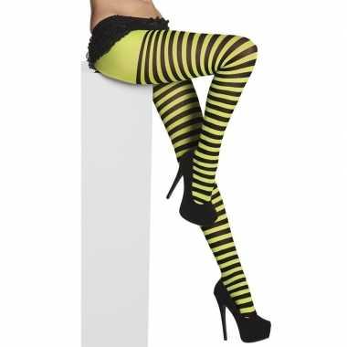 Carnavalskleding zwart/groen gestreepte denier panty dames arnhem