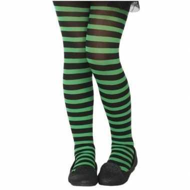 Carnavalskleding zwart/groene verkleed panty kinderen arnhem
