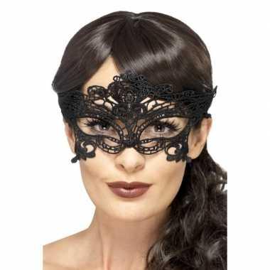 Carnavalskleding zwart kanten oogmasker dames arnhem