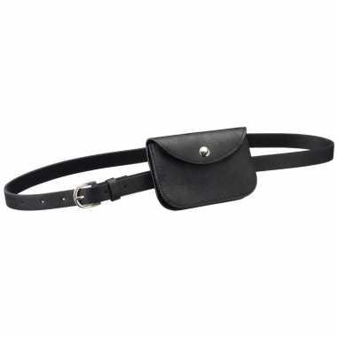 Carnavalskleding zwart mini heuptasje/buideltasje aan riem dames arnh