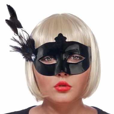 Carnavalskleding zwart oogmasker veren dames arnhem