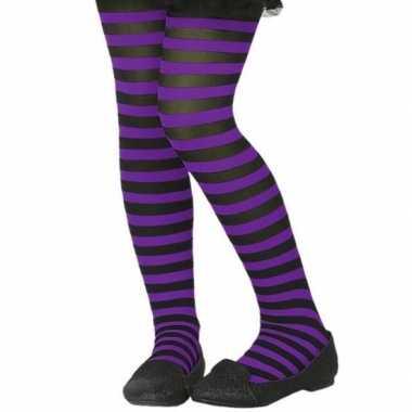 Carnavalskleding zwart/paarse verkleed panty kinderen arnhem