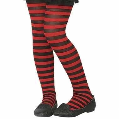 Carnavalskleding zwart/rode verkleed panty kinderen arnhem