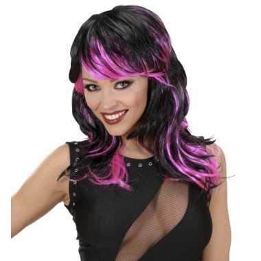 Carnavalskleding zwart roze damespruik arnhem
