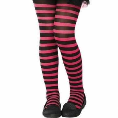 Carnavalskleding zwart/roze verkleed panty kinderen arnhem