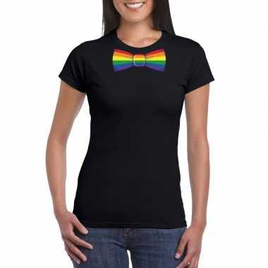Carnavalskleding zwart t shirt regenboog vlag strikje dames arnhem