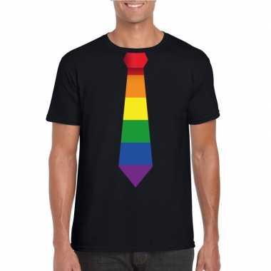 Carnavalskleding zwart t shirt regenboog vlag stropdas heren arnhem