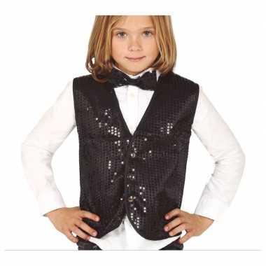 Carnavalskleding zwart verkleed gilet pailletten kinderen arnhem